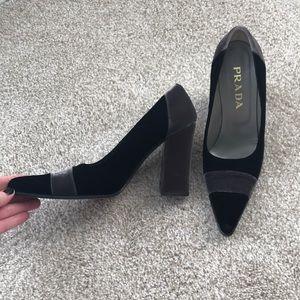 Prada velvet pointy toe block high heels